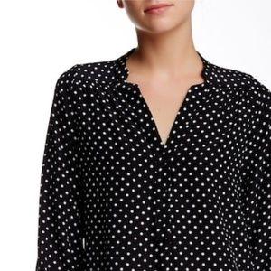Amour Vert Amy Button Front Silk Blouse